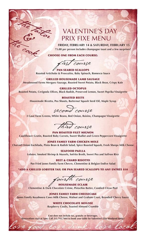 valentines dag menu