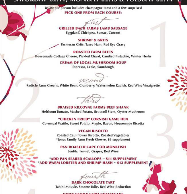 Valentine's Day 2017 Menu