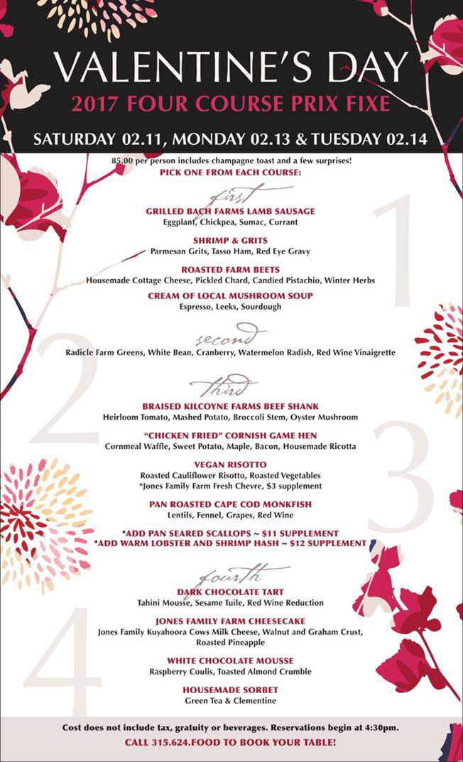 Valentine S Day 2017 Menu The Tailor And The Cook